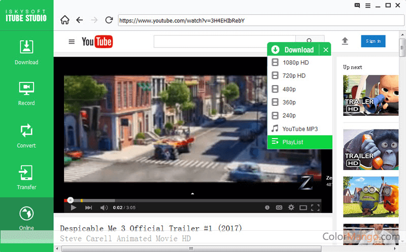 Aimersoft iTube HD Video Downloader Bildschirmfoto