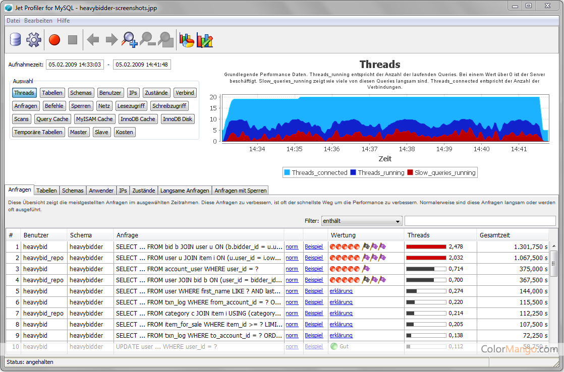 Jet Profiler für MySQL Screenshot