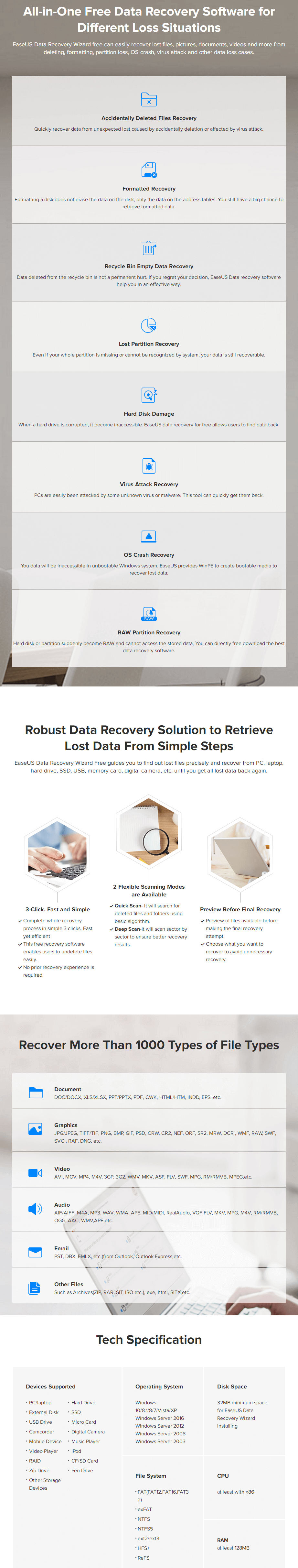 EaseUS Data Recovery Wizard Free Feature