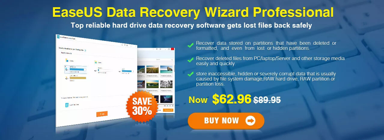 Exclusive 30% off EaseUS Data Recovery Wizard Professional