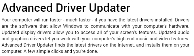 Advanced Driver Updater-Funktion