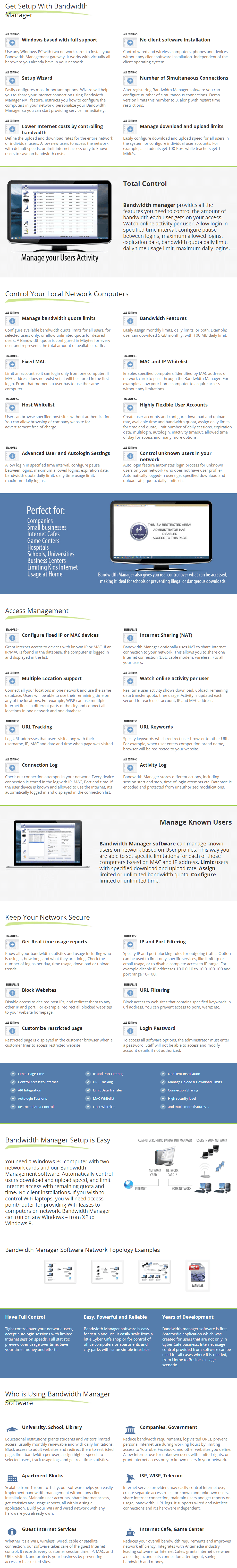 Antamedia Bandwidth Manager key Features