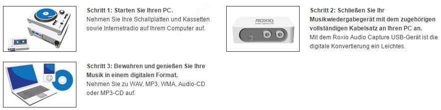 Roxio Easy LP to MP3 Hauptmerkmale