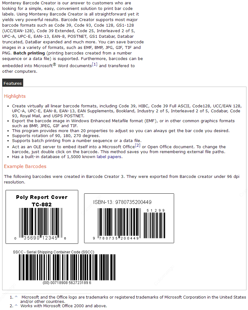 Monterey Barcode Creator key Features