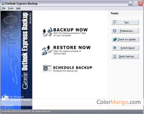 Genie Outlook Express Backup Free Shopping & Trial Screenshot