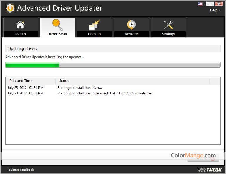 Advanced Driver Updater Bildschirmfoto