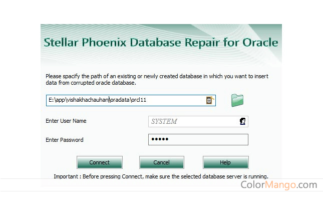 Stellar Phoenix Database Repair for Oracle Screenshot